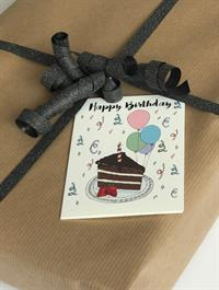 Mouse & Pen Kort - Happy birthday, Cake (A7)