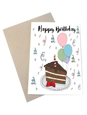 Mouse & Pen Kort - Happy Birthday, Cake (A6)
