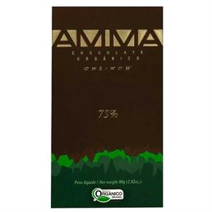 AMMA - Økologisk chokolade 75%. 80 g. i Chokoladehimlen.dk