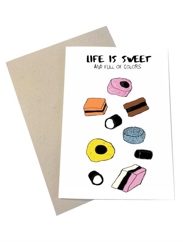 Mouse & Pen Kort - Life is Sweet (A6)